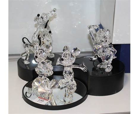 A set of six Swarovski Disney Showcase crystal ornaments to include Mickey & Minnie Mouse, Pluto, Donald Duck, etc, boxed