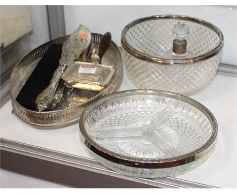 A collection of miscellaneous items to include a cut glass table bowl, with silver rim, silver mounted scent bottle and stopp