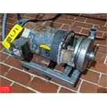 5 HP S/S Centrifugal Pump 2x2.5 Head, Clamp-On Type, with Baldor 1450 RPM Motor, (Loc. Central