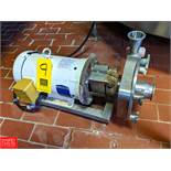 Fristam 7.5 HP S/S Centrifugal Pump 2x3 Head, with Baldor 3450 RPM Motor, (Loc. Central Mix) Rigging
