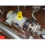 Fristam 3 HP S/S Centrifugal Pump 2x2 Head, with Baldor 1760 RPM Motor, (Loc. South Mix) Rigging