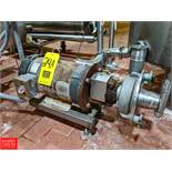7.5 HP S/S Centrifugal Pump 2x3 Head, with Baldor Motor, (Loc. North Mix) Rigging Fee: $150