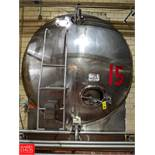 Approx. 12,000 Gallon S/S Horizontal Tank w/ Vertical Agitation T-15, (Loc. Central Mix) Rigging