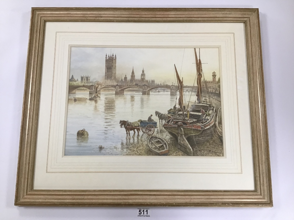 Lot 511 - JOHN L CHAPMAN (1946 -), A FRAMED AND GLAZED WATERCOLOUR OF A THAMES SCENE WITH BOATS IN THE