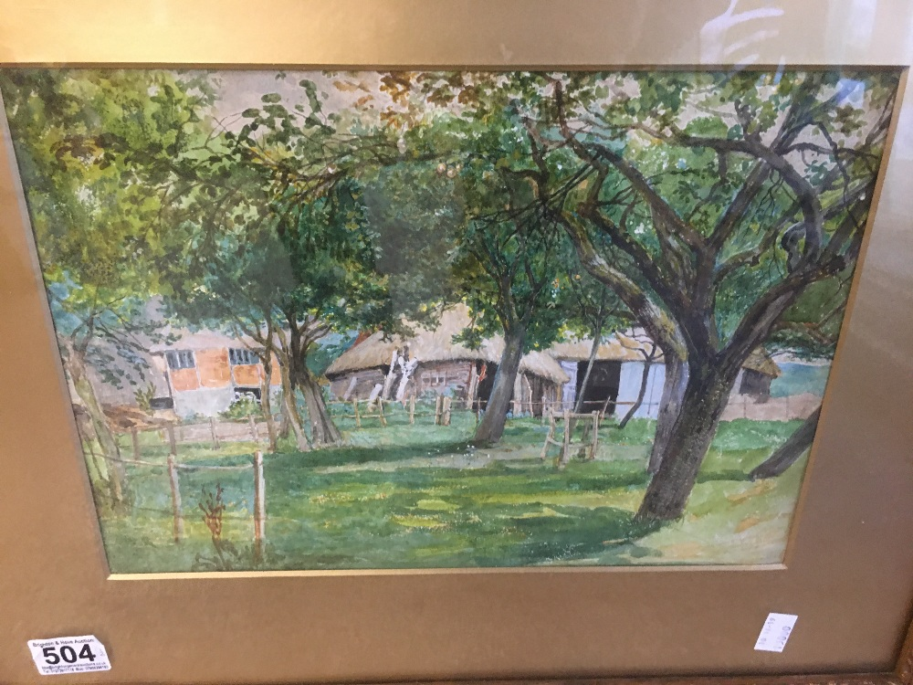 Lot 504 - TWO VINTAGE GILT FRAMED AND GLAZED WATERCOLOURS OF RURAL SCENES WITH GILT MOUNTS BOTH UNSIGNED 45