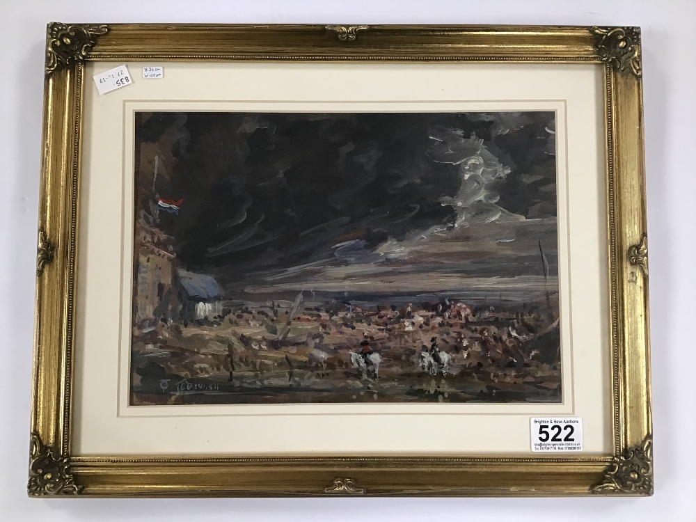 Lot 522 - THOMAS O'DONNELL (BRITISH) AN ORNATE GILT FRAMED AND GLAZED OIL ON BOARD OF A FRENCH BATTLE SCENE