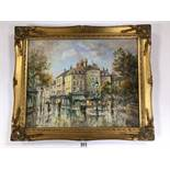 M J RENDELL A FRAMED OIL ON BOARD OF A FRENCH STREET SCENE WITH FIGURES AND REFLECTIONS, 50CM BY
