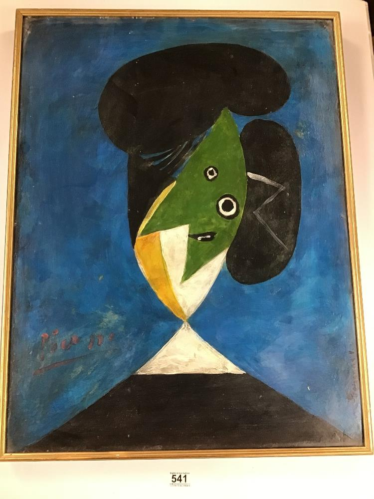 Lot 541 - THOMAS O'DONNELL A LARGE OIL ON BOARD ENTITLED 'AFTER ;PICASSO - HEAD OF A WOMAN', H80CM X W61CM