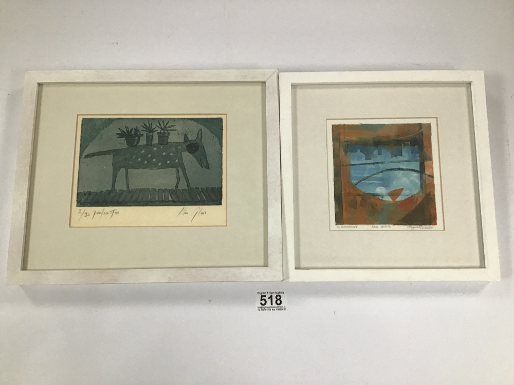 Lot 518 - TWO PRINTS ONE BY KIM GLASS 2/30 AND A MONOPRINT BY MARGARET ECCLESTON LARGEST 27 X 32 CMS