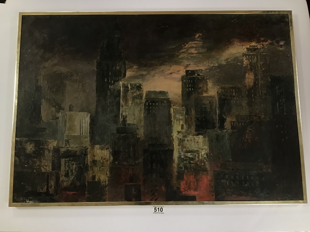 Lot 510 - A FRAMED OIL ON BOARD SIGNED PLANTE VIEW OF A CITY SKYLINE 62CM BY 90CM