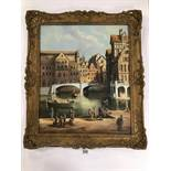 ANTHONY BRANDRETT (20TH CENTURY) ATTRIBUTED TO, AN ORNATE GILT FRAMED OIL ON CANVAS OF A DUTCH CANAL