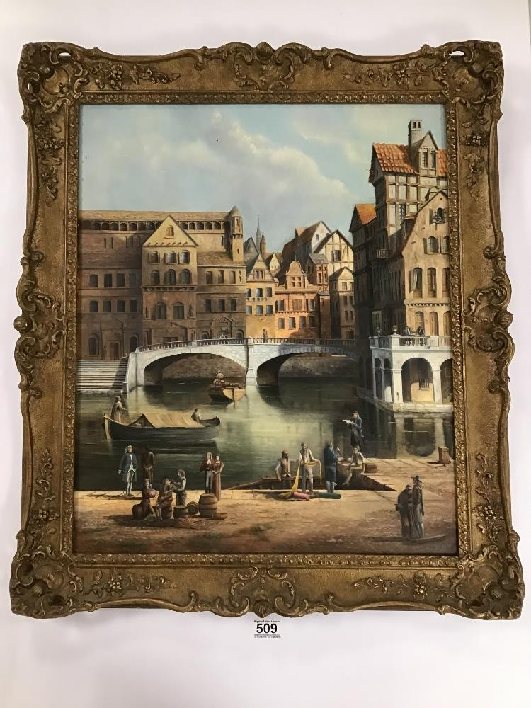 Lot 509 - ANTHONY BRANDRETT (20TH CENTURY) ATTRIBUTED TO, AN ORNATE GILT FRAMED OIL ON CANVAS OF A DUTCH CANAL