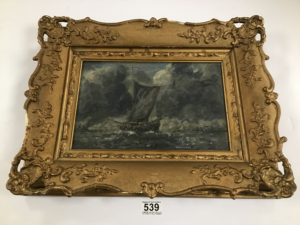 Lot 539 - A GILT FRAMED ORIGINAL VICTORIAN OIL ON CANVAS OF A SAILING SHIP AT SEA UNSIGNED, H37CM X W48CM