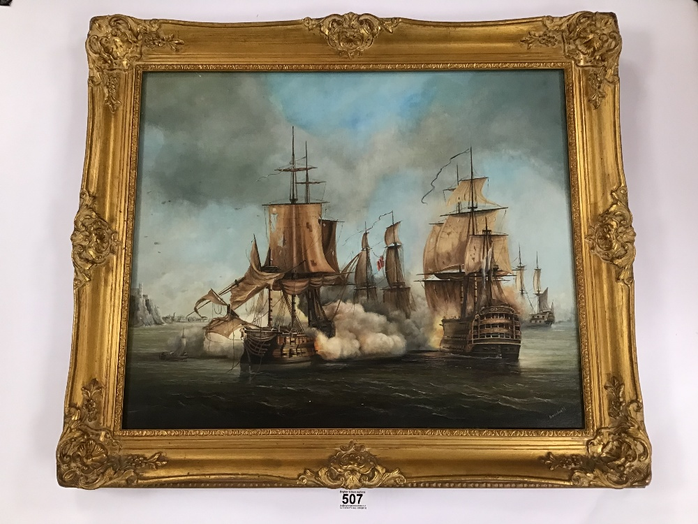 Lot 507 - ANTHONY BRANDRETT (20TH CENTURY) ATTRIBUTED TO, AN ORNATE GILT FRAMED OIL ON CANVAS OF A SEASCAPE
