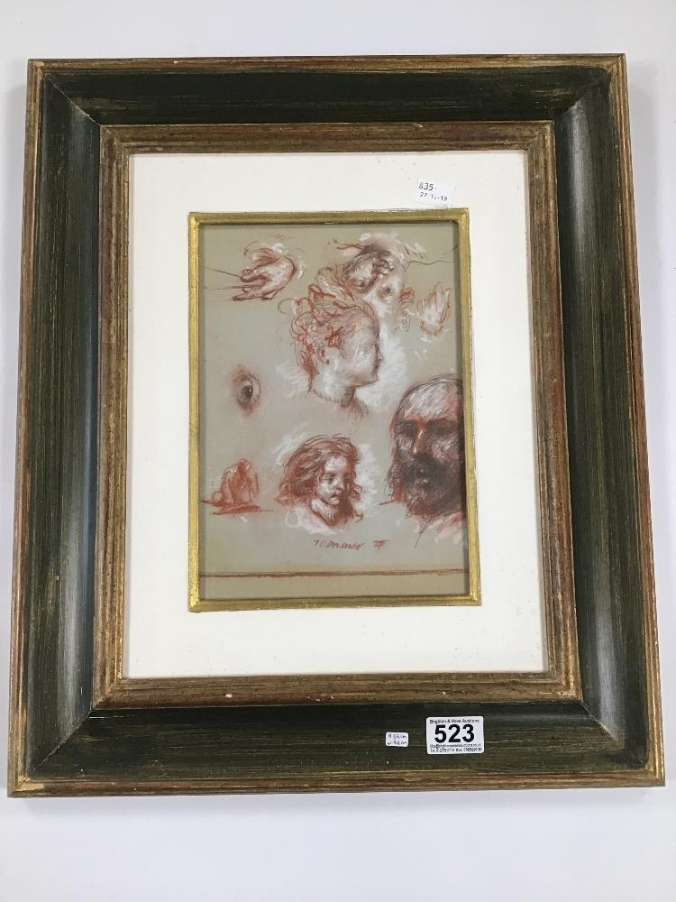 Lot 523 - TOM O'DONNELL, A GREEN AND GOLD FRAMED AND GLAZED PENCIL AND CHALK SKETCHES OF FACES, H52CM X W44CM