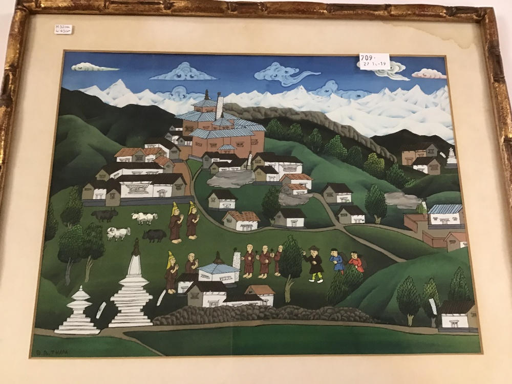 Lot 529 - B B THAPA (1900- ) AN ORIGINAL ACRYLIC ON BOARD OF A NEPALESE TEMPLE SCENE WITH MONKS IN A GILT