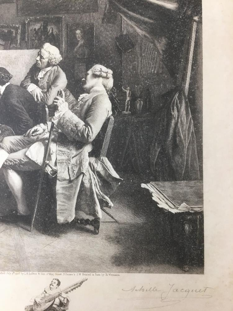 Lot 519 - ACHILLE JACQUET (1846-1908) TWO SIGNED LITHOGRAPHS AFTER JEAN LOUIS ERNEST MEISSONIER 1860, 42CM
