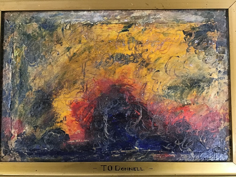 Lot 537 - THOMAS O'DONNELL, A VINTAGE OIL ON BOARD OF A POST IMPRESSIONIST SUNSET WITH GOLD MOUNT AND HIGHLY