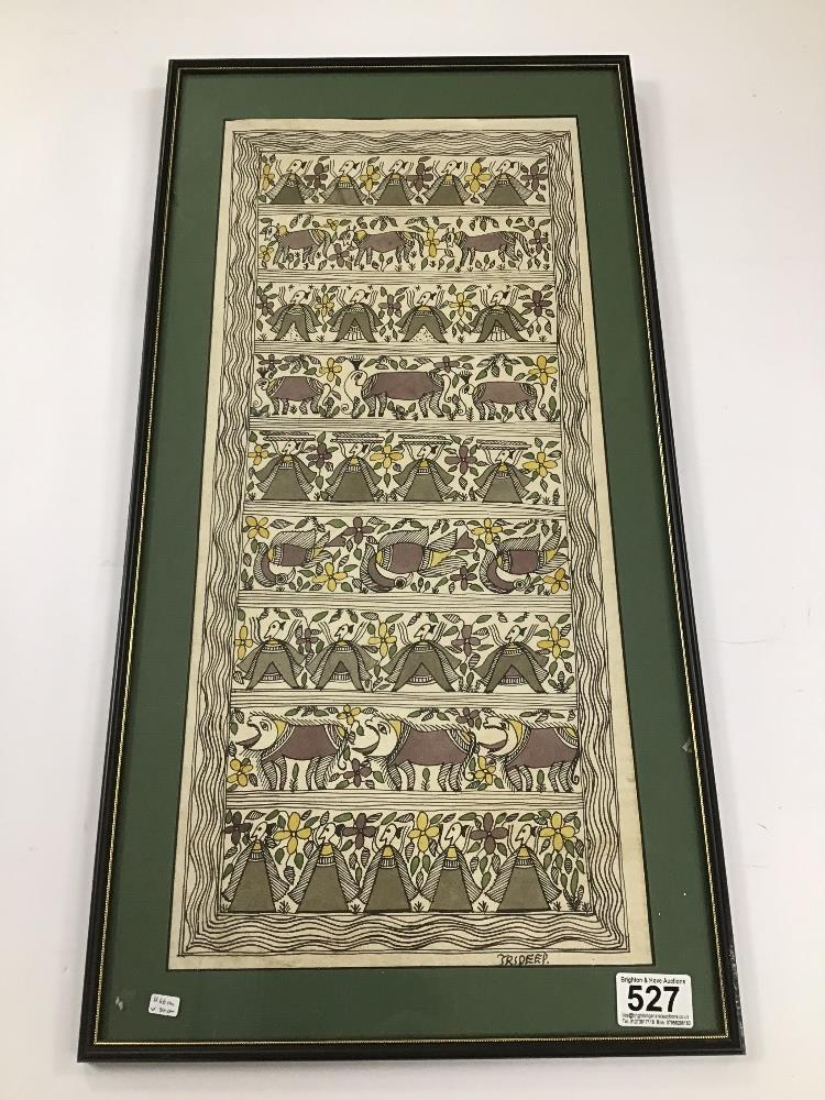 Lot 527 - TRIDEEP (20TH CENTURY) A FRAMED AND GLAZED PAINTING OF ASIAN MEN, ANIMALS AND FISH SIGNED TO THE