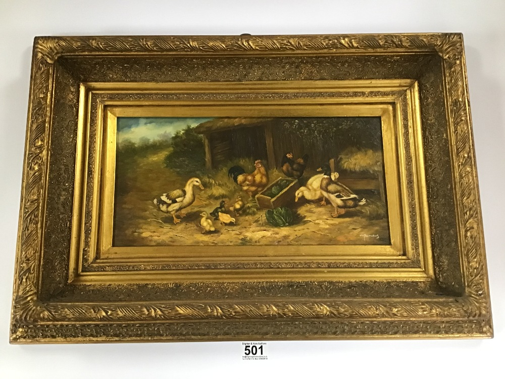 Lot 501 - A FRAMED SIGNED OIL ON PANEL FARM YARD SCENE WITH DUCKLINGS 46CM BY 65CM