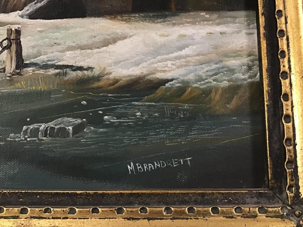 Lot 508 - MAX BRANDRETT AN ORNATE GILT FRAMED OIL ON CANVAS OF A DUTCH WINTER TRADE SCENE SIGNED M BRANDRETT