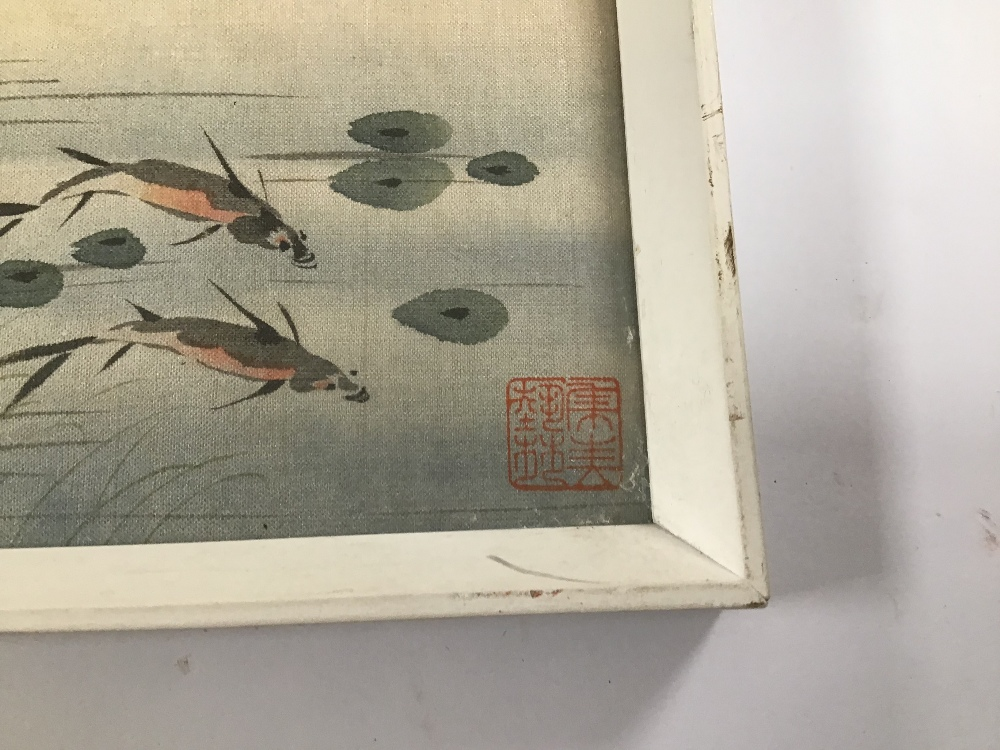 Lot 520 - TWO FRAMED AND GLAZED ORIENTAL PAINTINGS ON SILK OF BIRDS, FLOWERS AND BLOSSOM BOTH SIGNED, 22 X