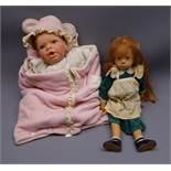 Gotz 'Clarissa' vinyl doll by Sylvia Natterer dated 1989 with long red hair and freckled face with
