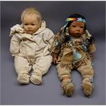 Gotz 'Dribble' baby girl doll by Carin Lossnitzer dressed as a Native American Indian squaw No.