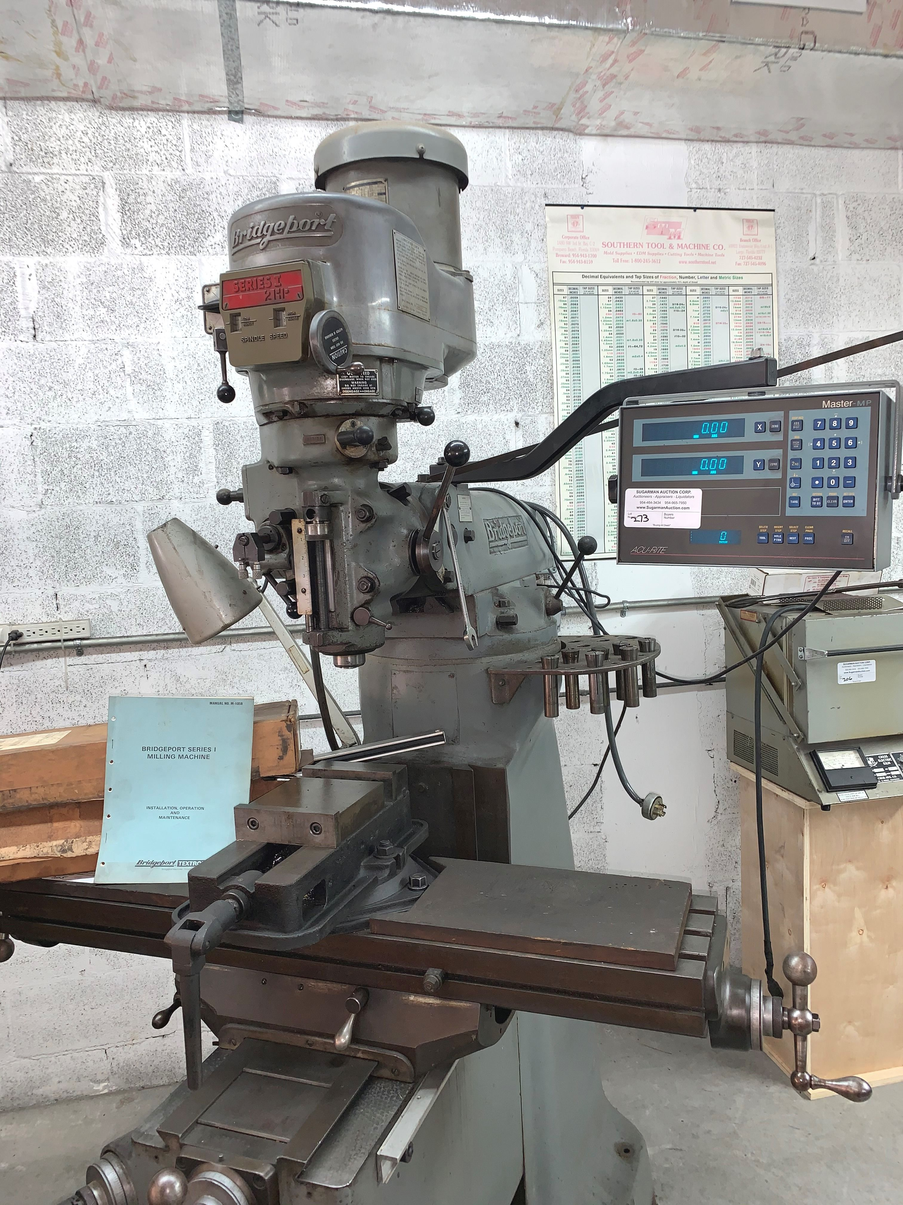 "Bridgeport Milling Machine, 2 H.P., ""T"" Head, Serial # 18-0171, Milling Vise, Collets - Image 2 of 2"