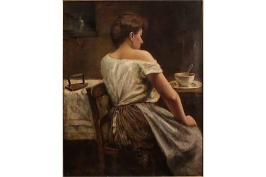 Henry Maurer 1868 1932 Figura Di Donna Di Spalle Bel Dipinto Ad