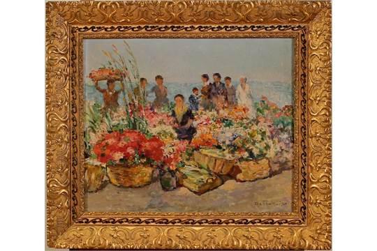 """PIETRO DE FRANCISCO (1873-1969) """"Il mercato dei fiori\"""