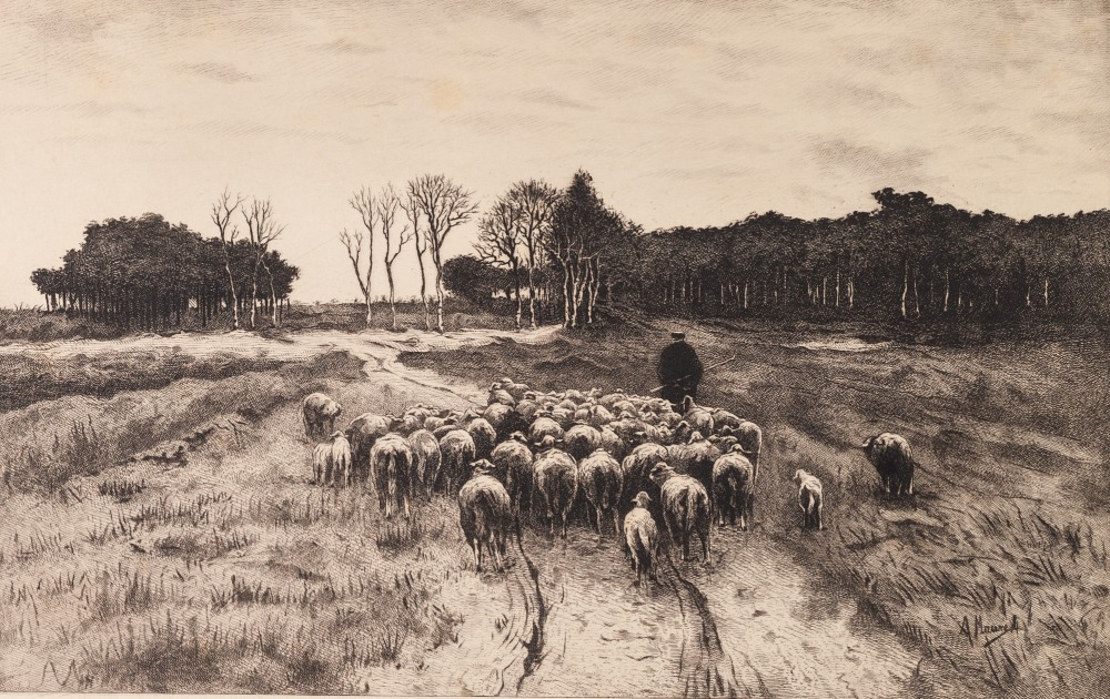 Lot 452 - AFTER A. MAUREL (EARLY TWENTIETH CENTURY) PAIR OF ENGRAVINGS Rural scenes: Drove with Sheep Woodsmen