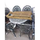 METAL PAINTED GARDEN TABLE, AND FOUR MATCHING SINGLE GARDEN CHAIRS (5)
