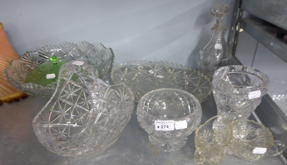 Lot 274 - A LARGE FLORAL ENGRAVED GLASS OVULAR VASE, A LARGE MOULDED GLASS BOWL WITH FAN BORDER AND A CUT