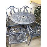 METAL PAINTED GARDEN TABLE, AND FOUR GARDEN ARMCHAIRS (5)