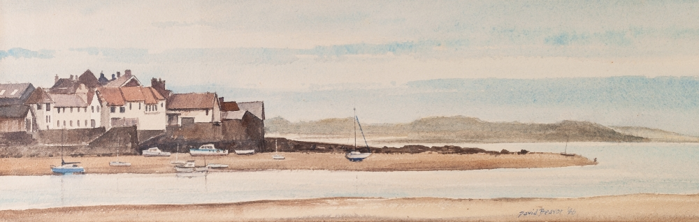 """Lot 404 - DAVID BEAVER WATERCOLOUR DRAWING TIDE OUT AT 'APPLEDORE' , KENT SIGNED AND DATED '46 6 1/2"""" X 20 1/"""