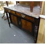 A TWO DOOR WALNUTWOOD WOOD WASHSTAND WITH MARBLE TOP (marble top)