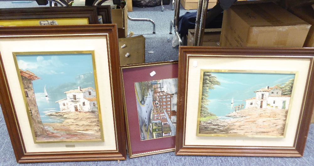 Lot 413 - M. McTOSH WATERCOLOUR HARBOUR SCENE AND TWELVE PRINTS VARIOUS