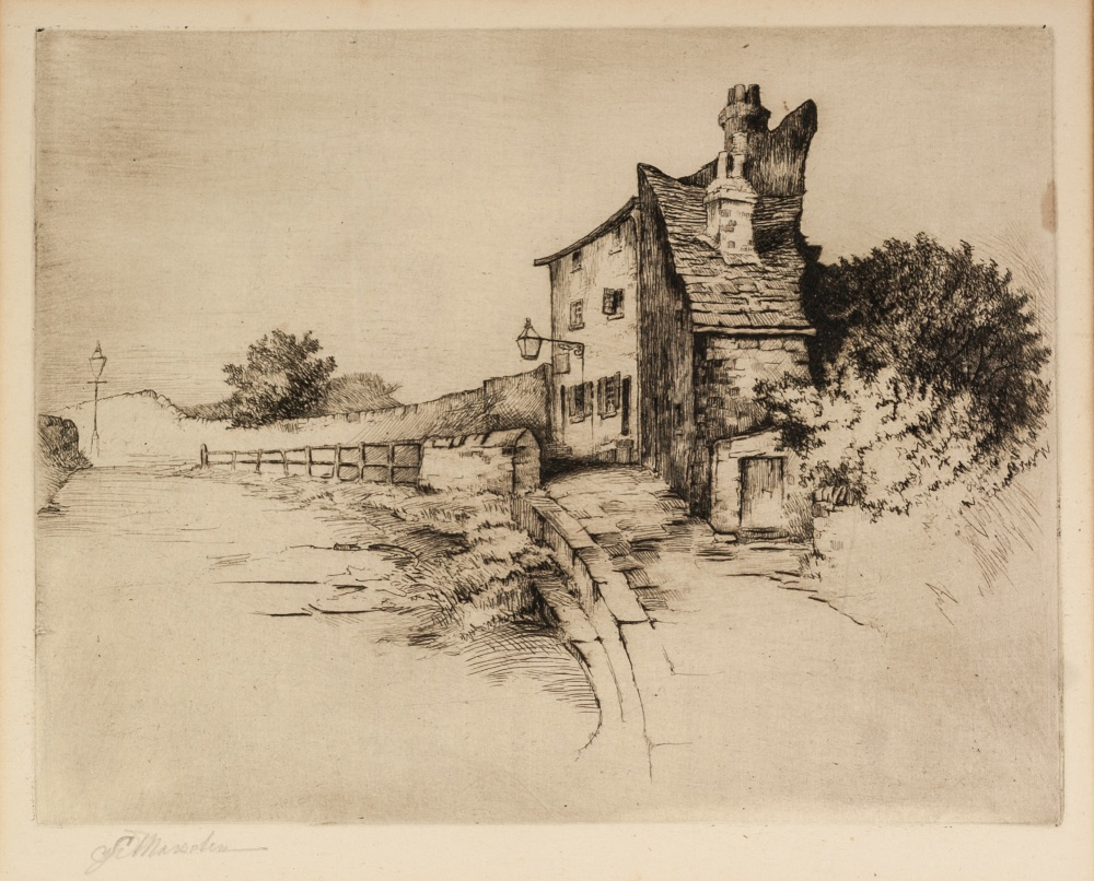 Lot 448 - LEONARD BREWER ARTIST SIGNED ORIGINAL ETCHING 'Through the Portico of the Whitworth Art Gallery'