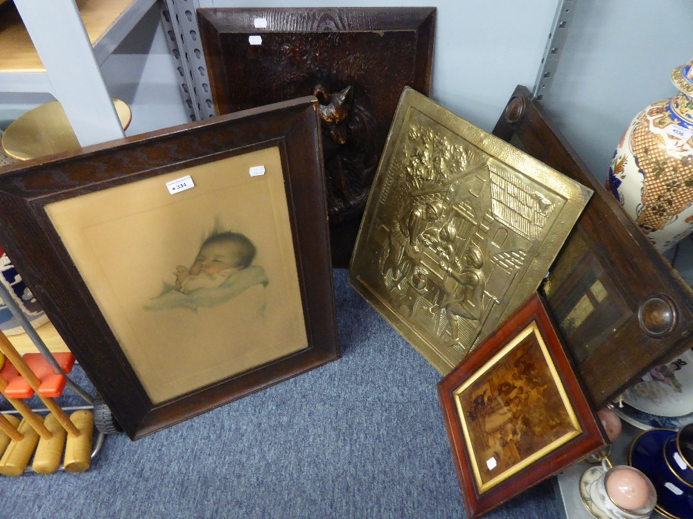 Lot 334 - A GROUP OF PICTURES AND WALL HANGINGS TO INCLUDE: WOOD EFFECT FOX PANEL, BRASS REPOUSSE WALL