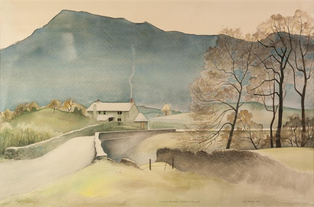 Lot 398 - IAN PRICE (TWENTIETH CENTURY) WATERCOLOUR DRAWING 'Ulpha Bridge, Duddon Valley' Signed and titled,