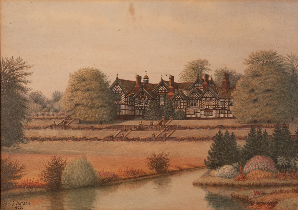 Lot 443 - ALFRED S WATSON (EARLY TWENTIETH CENTURY) WATERCOLOUR DRAWING View of Bramall Hall Signed and