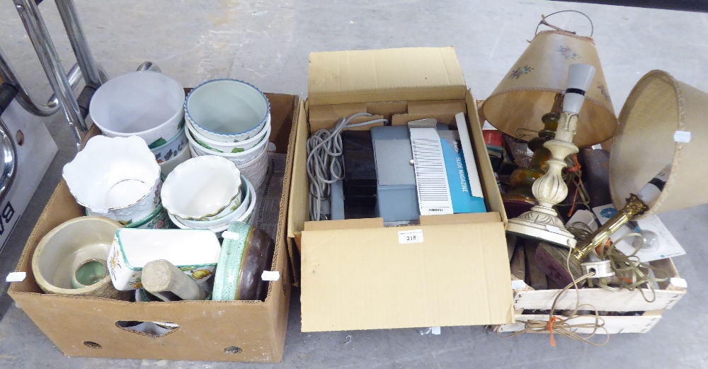 Lot 215 - A SELECTION OF OLD HAND TOOLS, A SLIDE PROJECTOR AND A SELECTION OF CERAMIC JARDINIERES