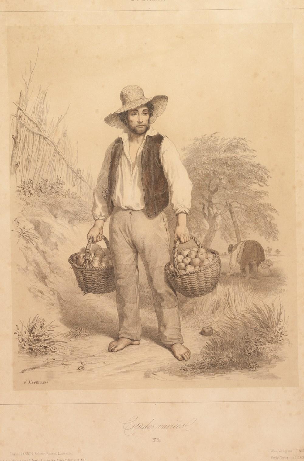"Lot 442 - F. GRENIER SET OF FIVE TINTED BOOKPLATE PRINTS Rural figure studies, numbered 10"" x 8"" (25.4cm x"