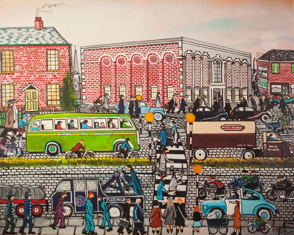 Lot 445 - P. WORRALL ARTIST SIGNED LIMITED EDITION COLOUR PRINT Busy Salford street scene with figures and