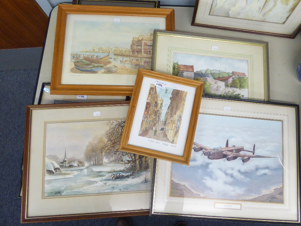 Lot 455 - SIX PICTURES AND PRINTS VIZ ST. JOHN ST. VALLITTA, ST. JULIANS BAY, MALTA x 2, AND A LANCASTER