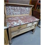 A LIGHT OAK WASHSTAND, WITH TWO SHORT DRAWERS ABOVE ONE LONG DRAWER, MARBLE TOP AND BACK BOARD (