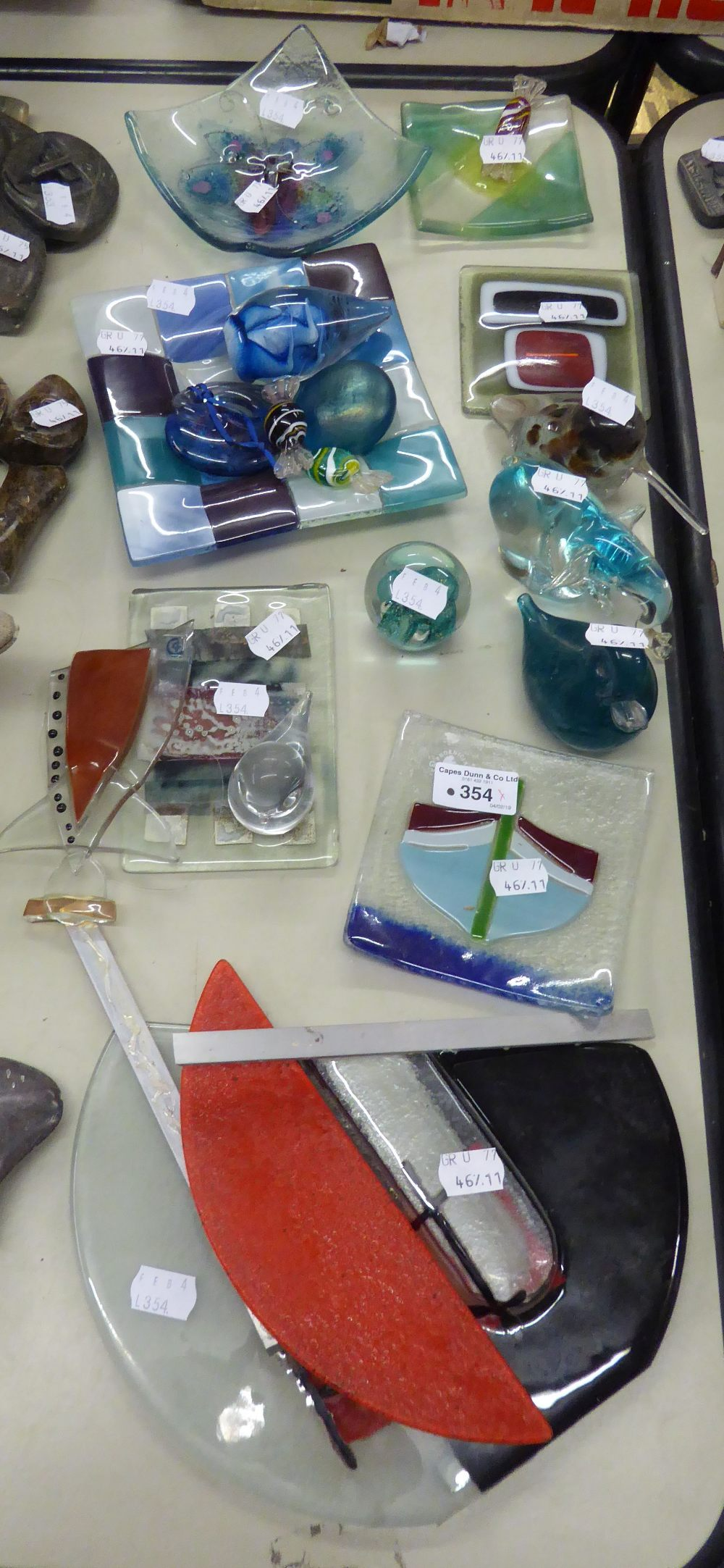 Lot 354 - MODERN COLOURED GLASS- PAPERWEIGHTS, MODELS OF ANIMALS, TILES, SMALL DISHES, SWEETS, etc
