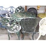 METAL PAINTED GARDEN TABLE, HAVING PAIR OF SINGLE GARDEN CHAIRS (5)