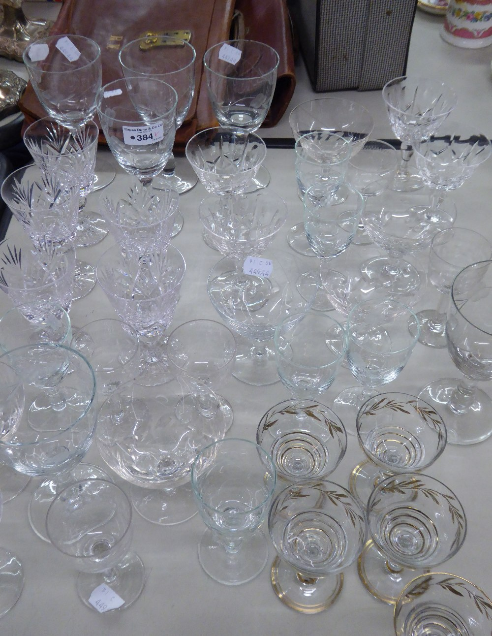 Lot 384 - DRINKING GLASSES TO INCLUDE; WINE, SHERRY GLASSES ETC...